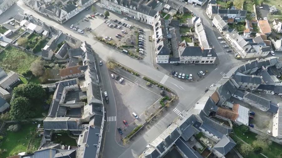 Trévières, centre-ville vu du ciel