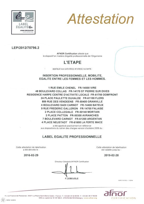 label égalité professionnelle