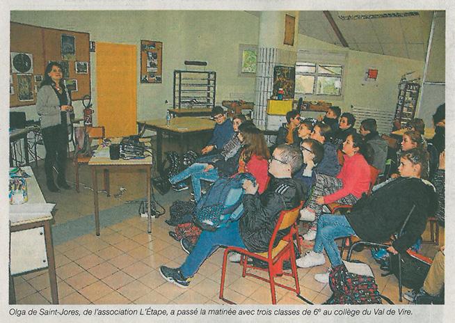 Olga de Saint-Jore, de l'association L'Étape, a passé la matinée avc trois classes de 6e au collège du Val de Vire